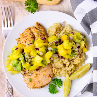 Chicken Breast with Avocado Mango Salsa.