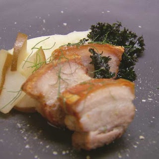 Roast Pork Belly with Mash, Crispy Kale and Pickled Pear