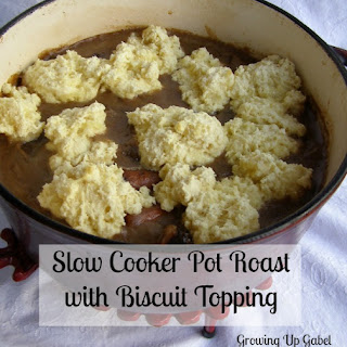 Slow Cooker Pot Roast Recipe with Biscuit Topping.