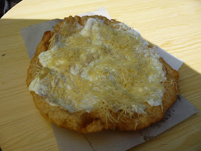 Photo: Langos with sour cream and cheese. Delicious food of Hungary in Velence.