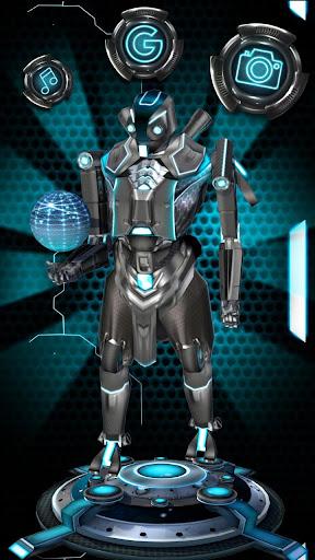 3D Blue Tech Globe Robot Theme screenshot 1