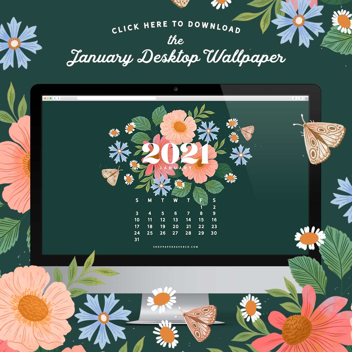 January 2021 Illustrated Desktop Wallpaper by Paper Raven Co. #dressyourtech #happynewyear #desktopwallpaper