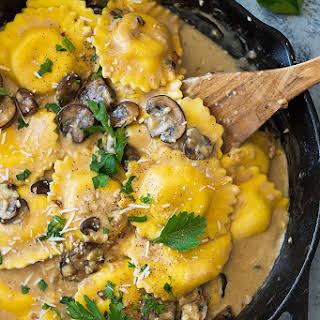 Cheese Ravioli in Creamy Mushroom Sauce.