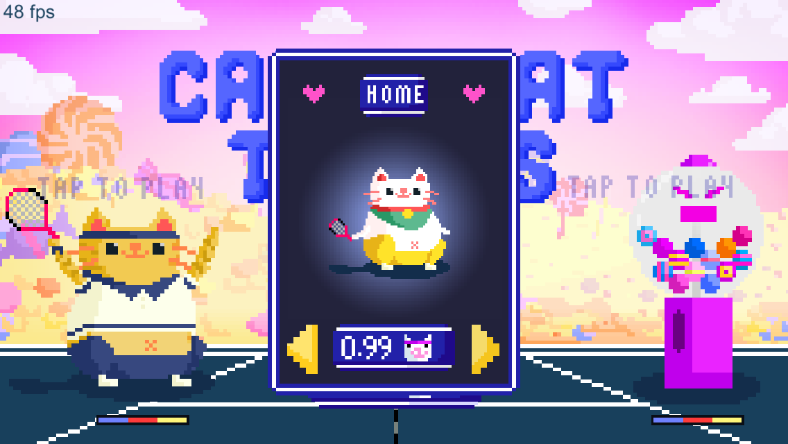 Candy Cat Tennis – 8-bit bash- screenshot