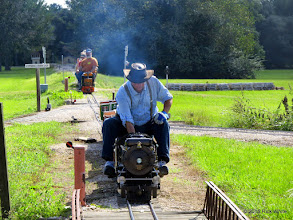 Photo: Doug Blodgett coming into the station for the bypass track while Andy Isles takes 5321 towards the station at 10:15 AM.     HALS Public Run Day 2015-0919 RPW