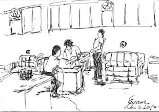 Photo: 病舍2010.11.06鋼筆 難得假日貼病舍,看著看護雜役為病犯們量血壓體溫,我們這種例行工作形式大於實質,別說有醫生了,連衛生科根本沒人留守。