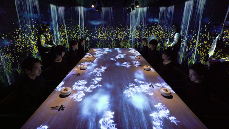 interactive lights on the dining table