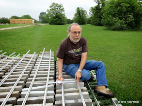 Photo: George Leveton checking the gauge on the concrete tie track panels.  All are 7 & 9/16 to just less than 7 & 5/8 inch.   HALS Work Day 2015-0411 RPW