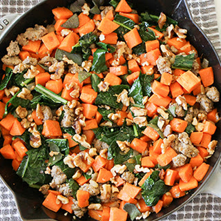 One Skillet Sweet Potatoes with Kale, Sausage and Walnuts