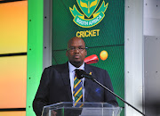 Cricket South Africa president Chris Nenzani speaks during a squad announcement for the Cricket World Cup.