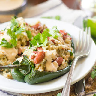 Stuffed Poblano Peppers with Cumin-Lime Cashew Crema.