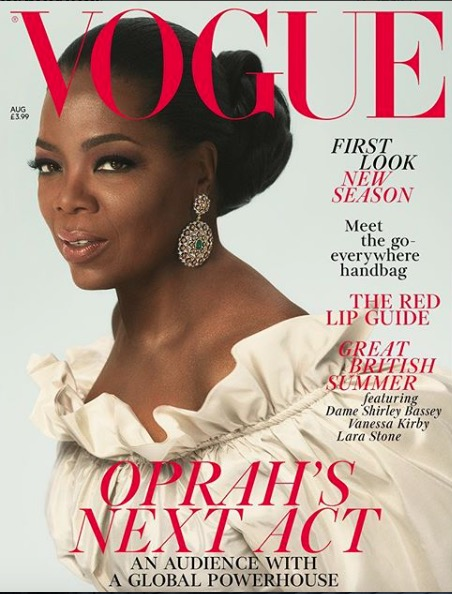 Oprah looks regal on the cover of British Vogue.
