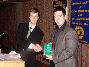 Photo: Peter Shaw-Wood with recipient Matt Edmonds