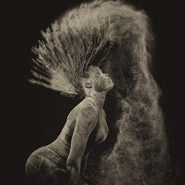 Flick of Flour by Andro Andrejevic - Black & White Portraits & People ( flour shoot, flour, black and white, portrait, creative )
