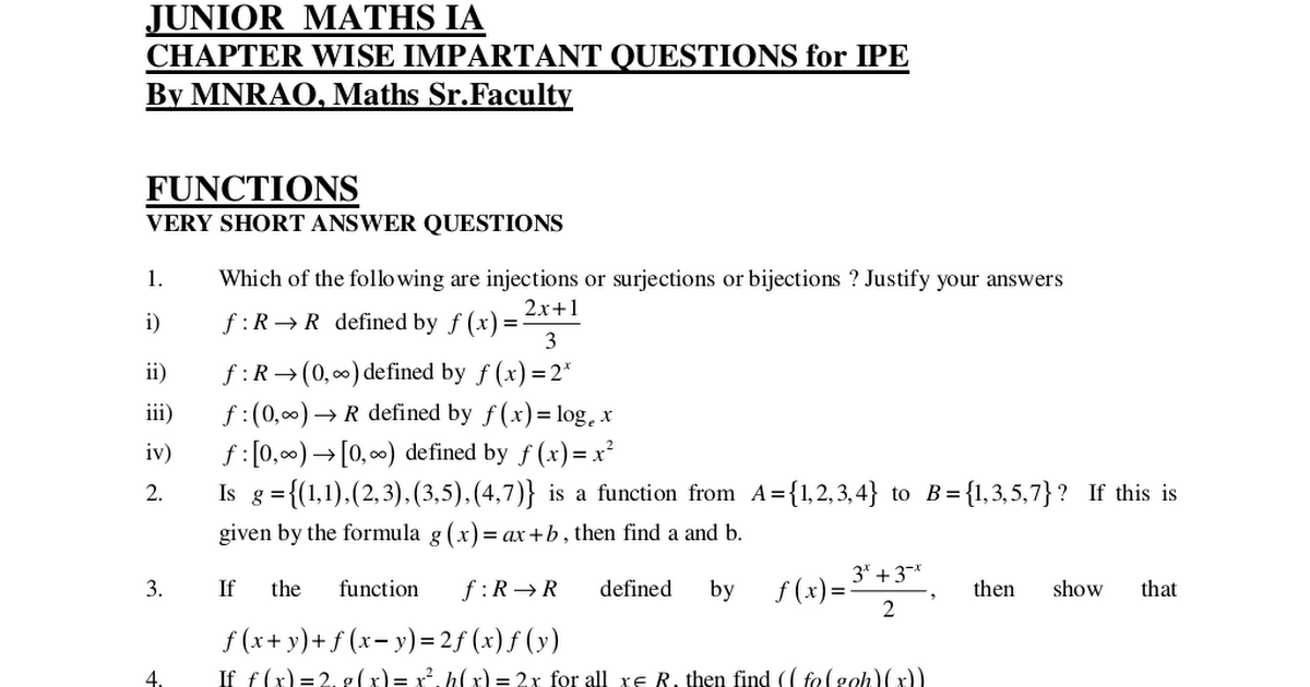 MATHS - 1A QUESTION BANK - Chapter wise important questions for IPE ...