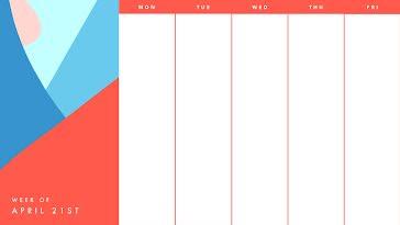 Bright Work Week - Weekly Calendar template