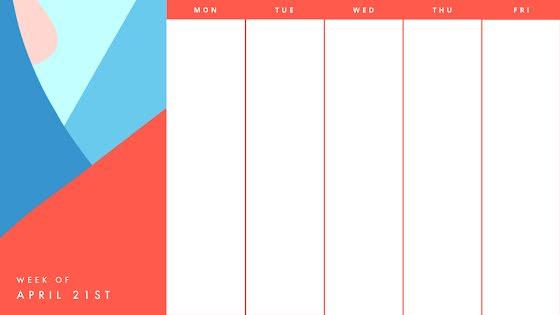 Bright Work Week - Calendar Template