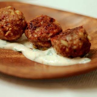 Harissa Spiced Meatballs with Cilantro Yogurt.