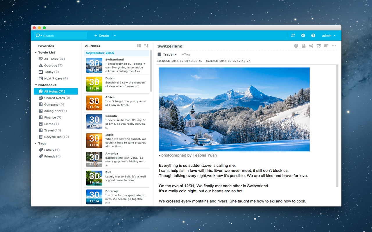 Synology Note Station Screenshot