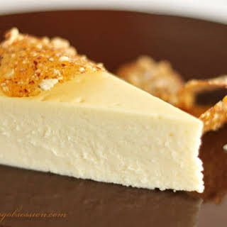 White Chocolate and Brie Cheesecake with Fleur de Sel and Hazelnut Brittle.