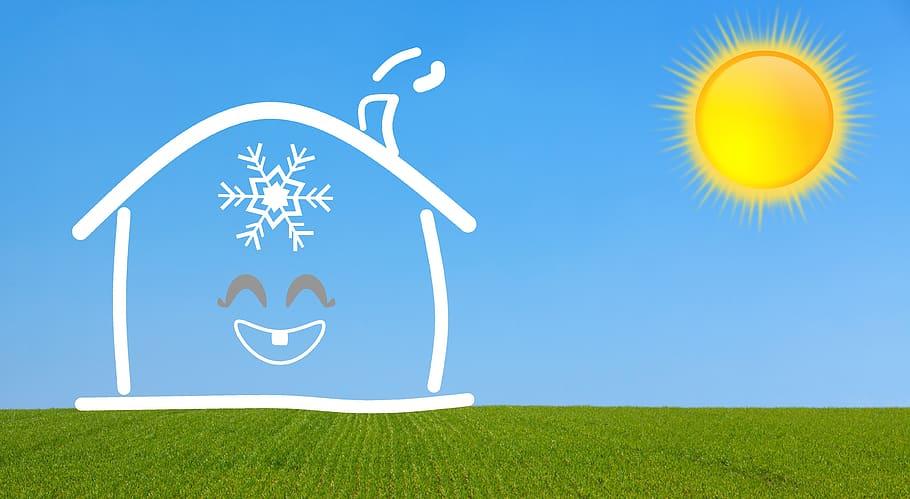 aire acondicionado, casa, refrigeración, verano, sol, copo de ...