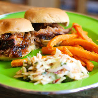 Smoked Pork Butt on the Big Green Egg = Pulled Pork Sliders with Mango BBQ Sauce and Chipotle Cilantro Coleslaw.