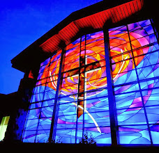 Photo: Outside view of the stained glass window