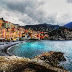Camogli by Andrea Conti - City,  Street & Park  Vistas ( houses, waterscape, camogli, liguria, boats, sea, beach, italy,  )