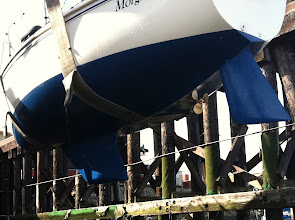 Photo: coming out of yard April 2011, new bottom, new shaft strut, new prop, new zincs and hull compounded and waxed