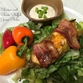 Chicken & Cheese Stuffed Hatch Green Chiles.