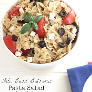 Feta Basil Balsamic Pasta Salad