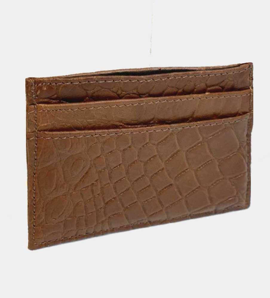 Kreditkortsplånbok i alligatormönstrat buffelläder 5-fack - Brun