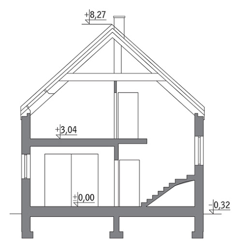 Dom na rozstaju - wariant II - C214b - Przekrój