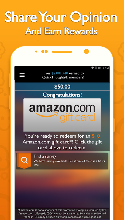 QuickThoughts: Take Surveys Earn Gift Card Rewards- screenshot