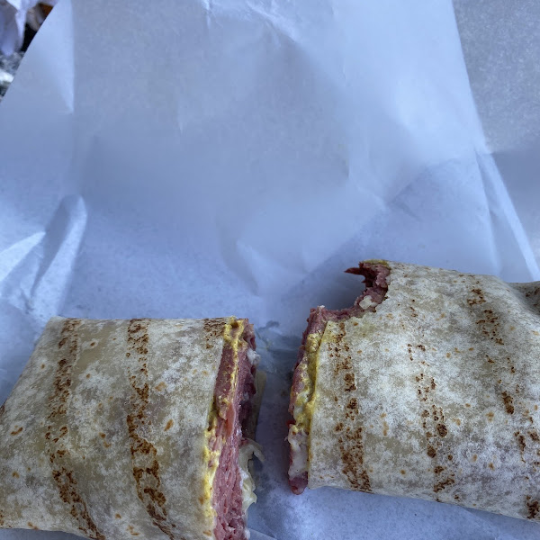 Delicious corned beef on GF wrap.