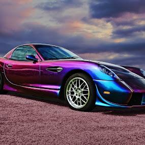 Panoz by JEFFREY LORBER - Transportation Automobiles ( carphotoz, lorberphoto, pink car, rust 'n chrome, panoz, jeffrey lorber,  )
