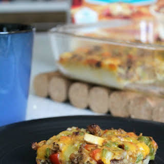 Easy Vegetable and Sausage Pancake Casserole.