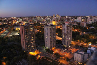 Photo: VE4WDR's view of Winnipeg at night