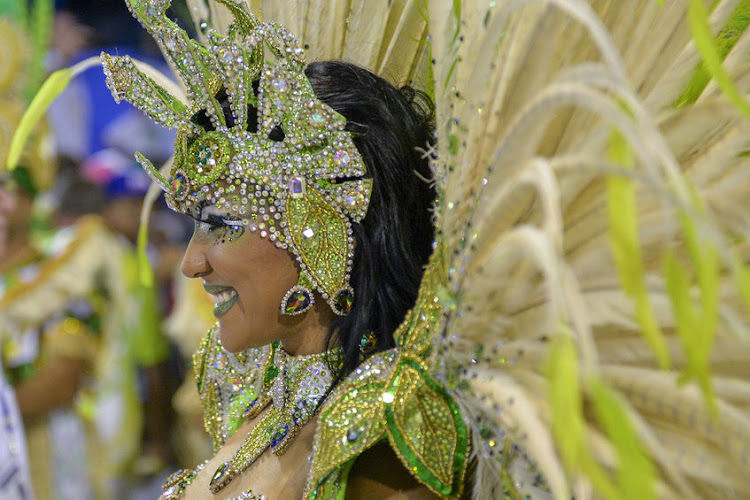 Imperio da Tijuca's Laynara Teles at Samba School parade in Sambodromo during Carnival at Marques de Sapucai Street