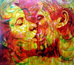 """Photo: """"Aladiah Beija Hariel - Estágio das Chamas"""". Acrílica/duratex, 122,5x136,5 cm, 1997, Mossoró-Rn. Coleção: Patrícia Calzerra da Fonseca, Recife, Pernambuco, Brasil."""