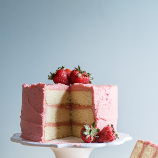Lemon Cake with Fresh Strawberry Frosting