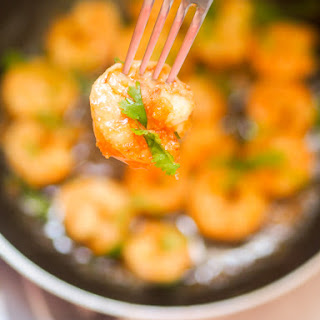 Pan Fried Honey Garlic Shrimp.