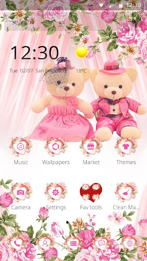 Pink theme teddy bear screenshot
