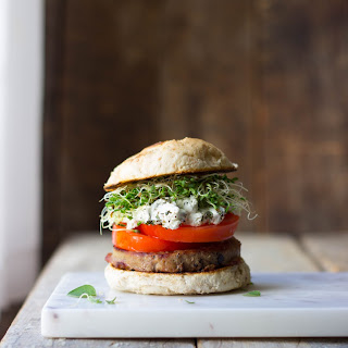 Herbed Goat Cheese & Heirloom Tomato Turkey Burgers.