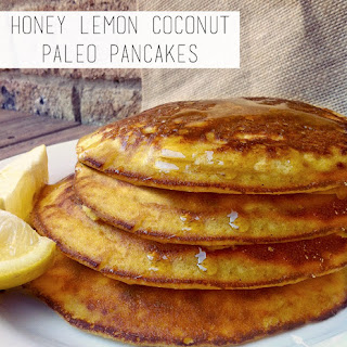 Honey Lemon Coconut Paleo Pancakes.