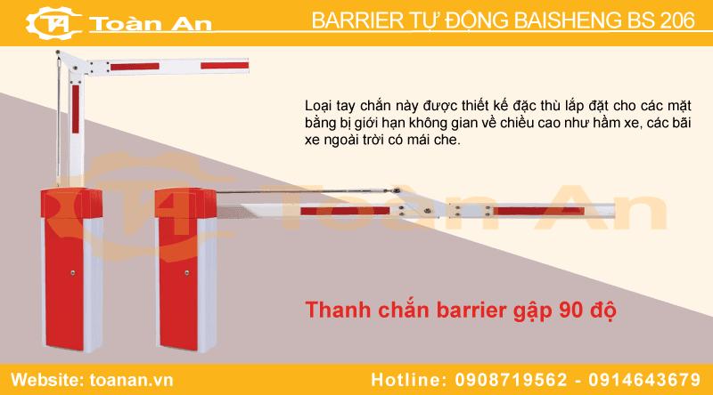 Barrier tự động bs 206 sử dụng thanh chắn gập 90 độ.