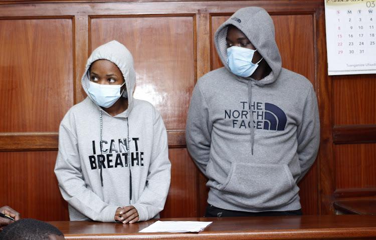 Anne Wambui and Antony Mwangi at the Milimani Law Courts On Monday