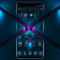 Neon Blue Square Tech Theme icon