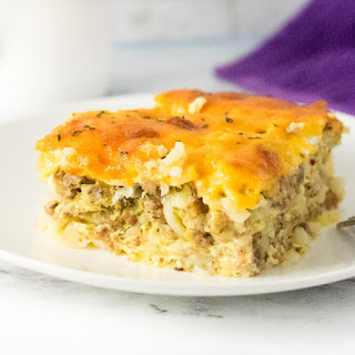 Sausage Hash Brown Breakfast Casserole with Egg and Cheese.