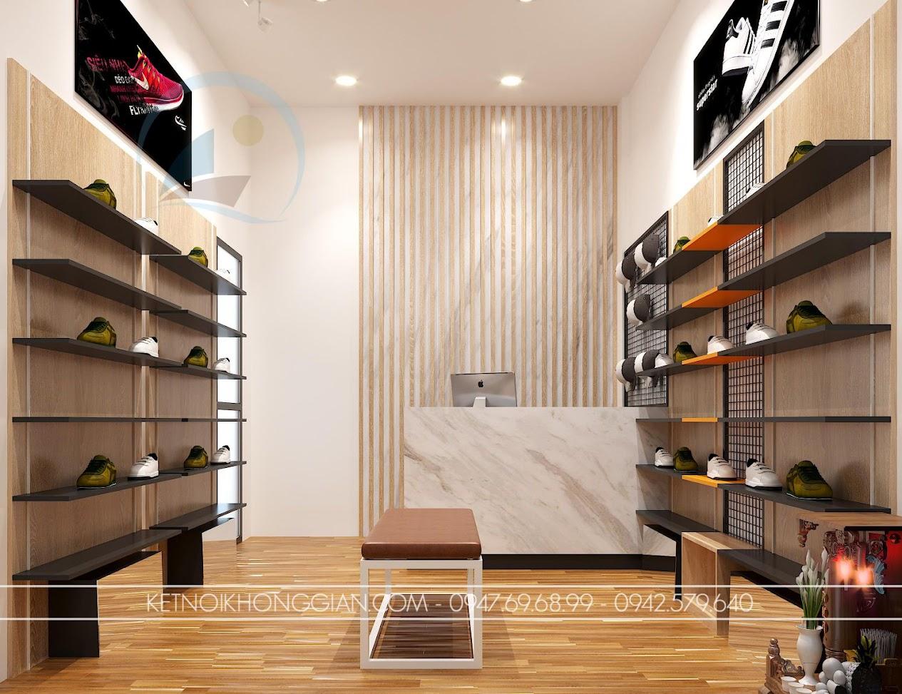 thiết kế shop giày dép nhỏ 16m2 chuyên nghiệp
